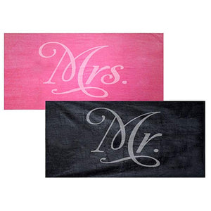 Mr. and Mrs. Towel Set - Fuchsia and Black