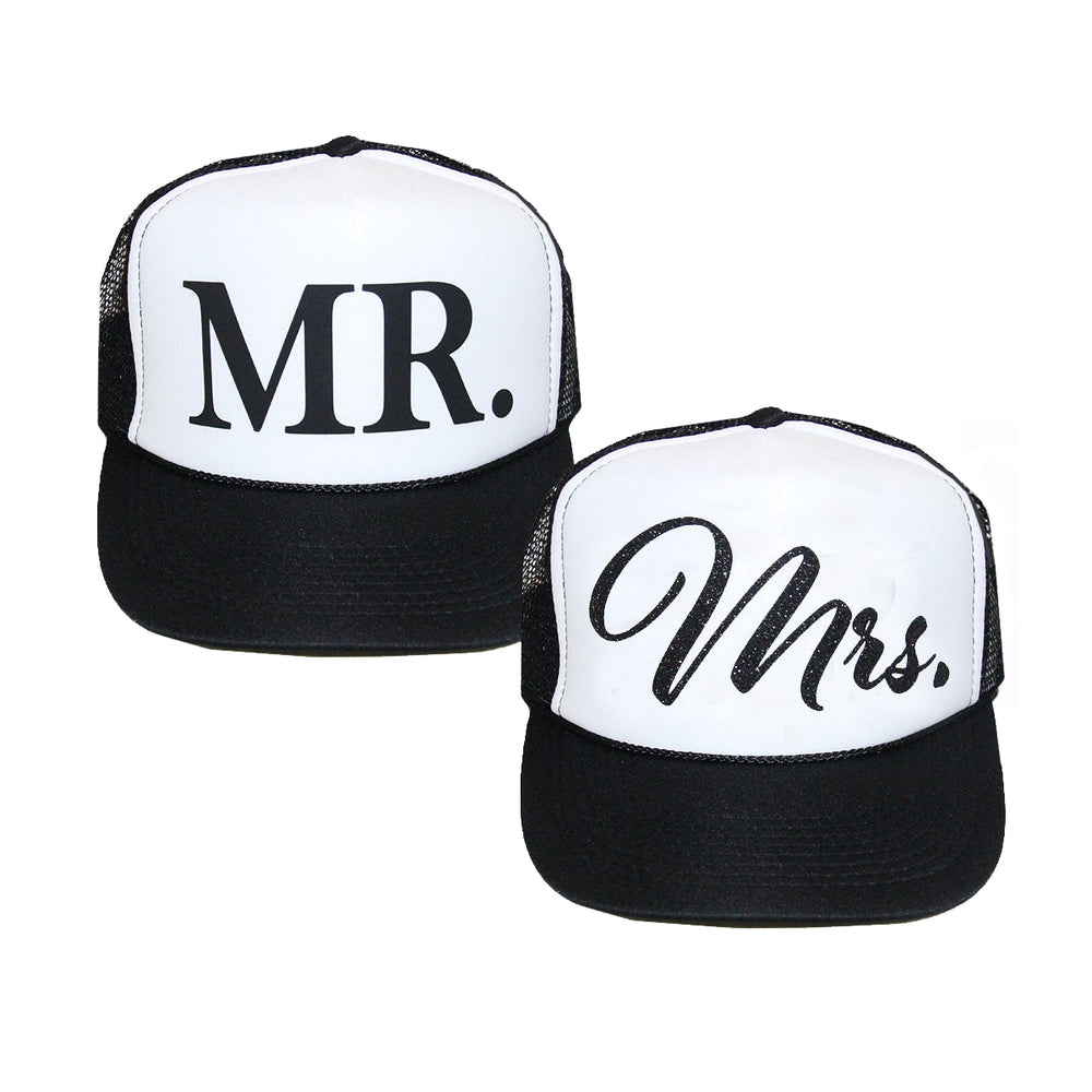 Load image into Gallery viewer, Mr. and Mrs. Trucker Hat Set