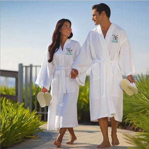 Personalized Mr. and Mrs. Waffle Weave Spa Robe Set