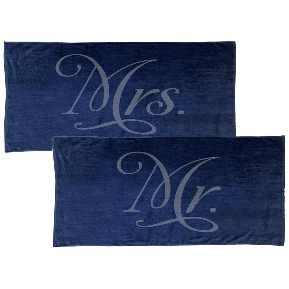 Load image into Gallery viewer, Mrs. and Mr. Beach Towels, Bride and Groom Towels, Just married Towels