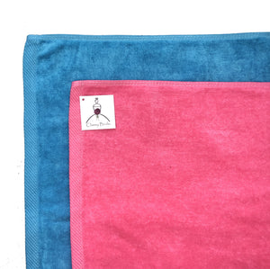Mr. and Mrs. Towel Set - Turquoise and Fuchsia