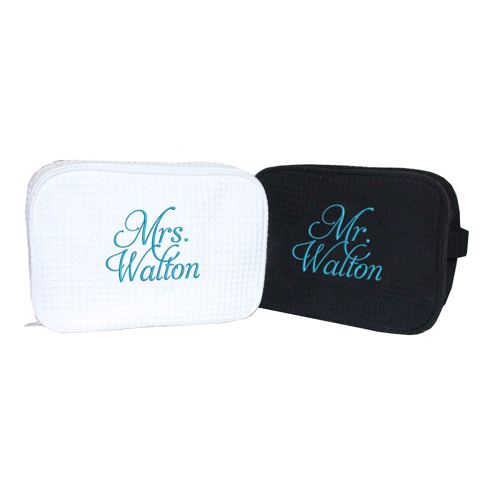 Personalized Mr. and Mrs. Toiletry Bag Set
