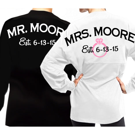 Personalized Mr. & Mrs. Wedding T-Shirt Set