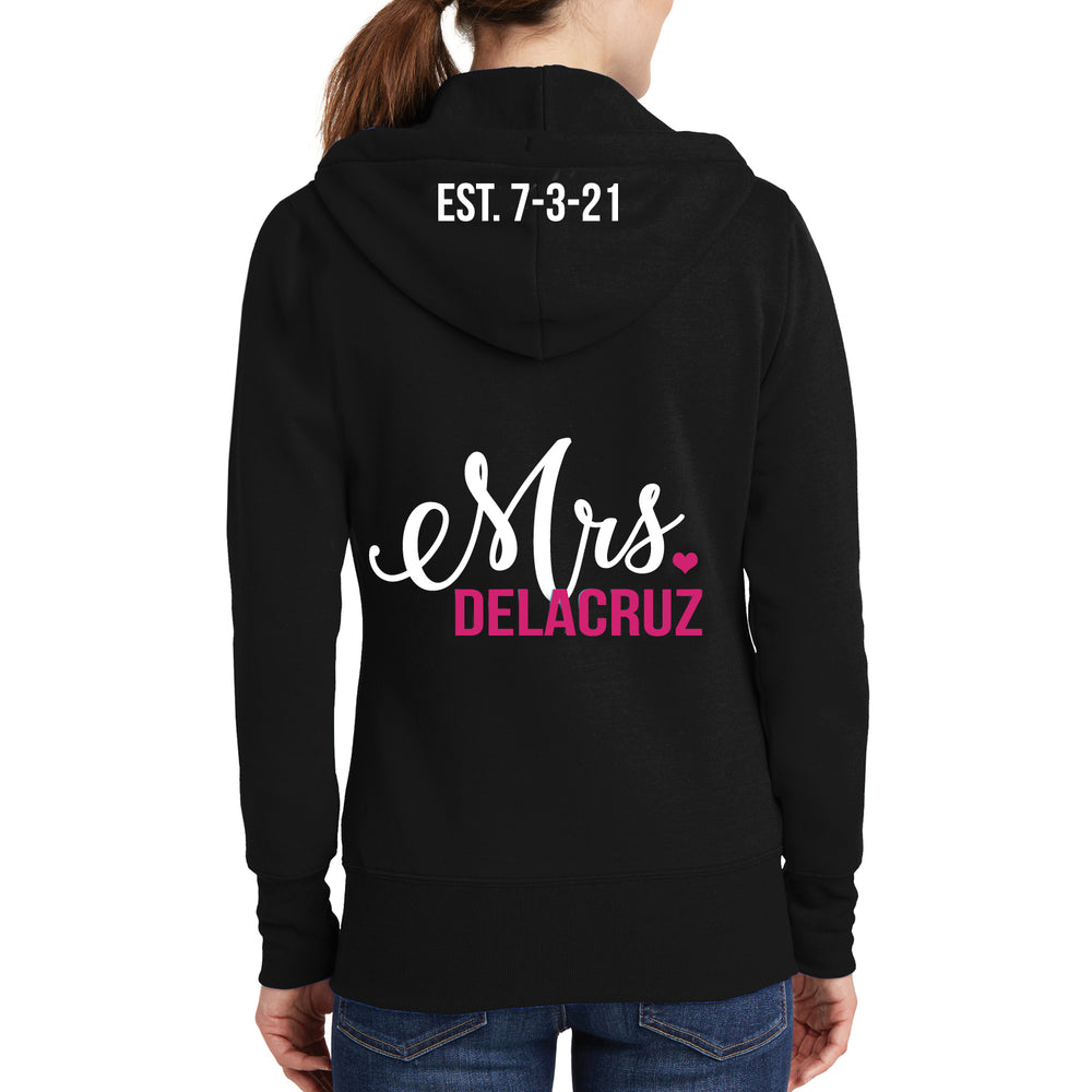 Personalized Mrs. Hoodie with Wedding Date on Hood