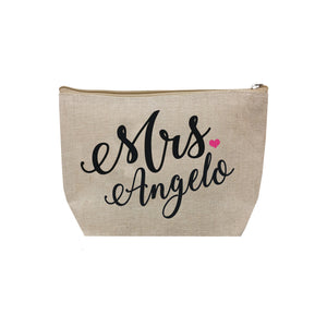 Personalized Mrs. Jute Cosmetic Bag