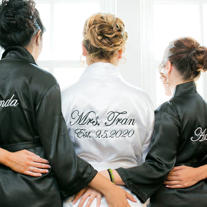 Personalized Mrs. Satin Bridal Robe with Name on Front