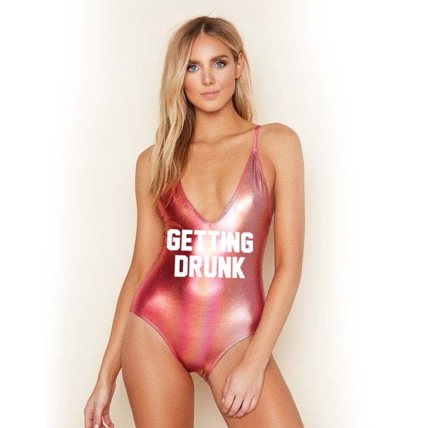 Getting Drunk Caged Sunset Ombre One Piece