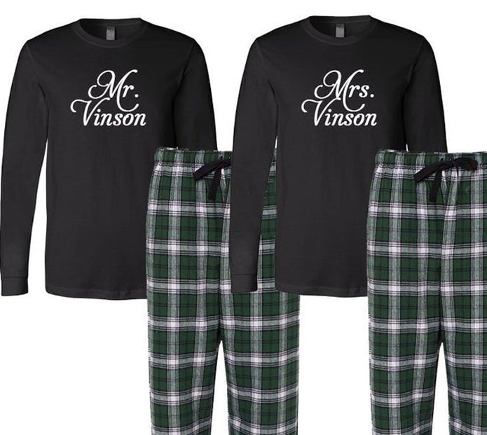 Personalized Mr. and Mrs. Pajamas, Mr. and Mrs. Pajama Set, Bride and Grooom Pajamas