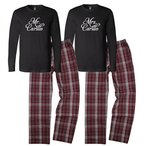 Custom Pajamas, Personalized Mr. and Mrs. Pajamas, Mr. and Mrs. Pajama Set, Bride and Grooom Pajamas