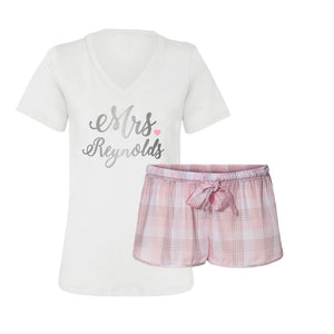 Personalized Mrs. Pajama T-Shirt Set - Pretty in Pink