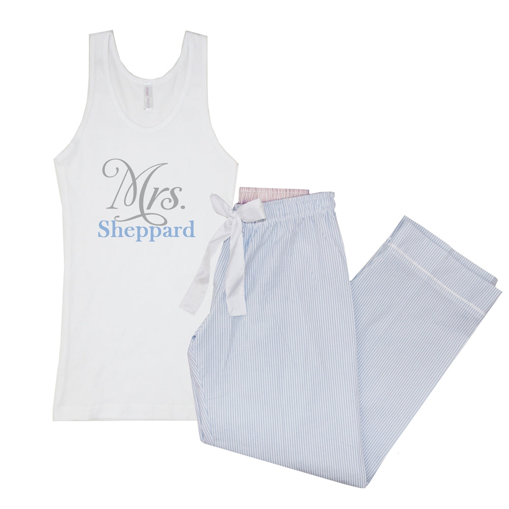 Personalized Mrs. Seersucker Pajama Tank Set
