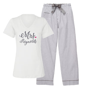 Load image into Gallery viewer, Personalized Mrs. Seersucker Pajamas