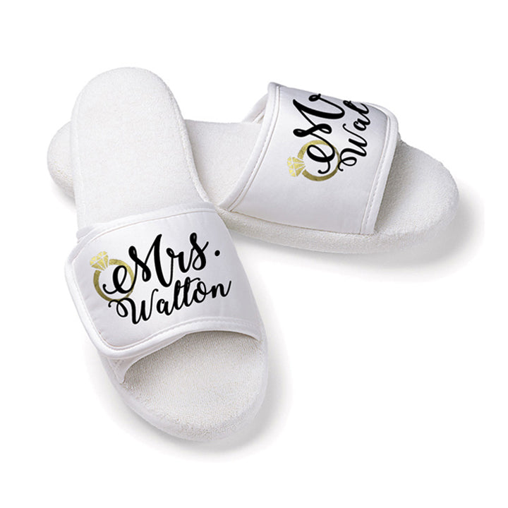 Personalized Mrs. Bridal Slippers with Metallic Gold Ring