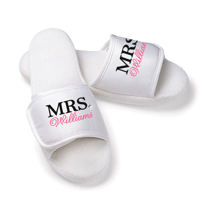 Personalized MRS. Slippers with Bling Accent