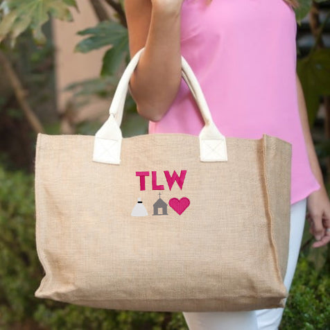 Monogrammed Wedding Symbols Jute Tote Bag