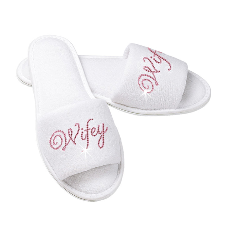Wifey Terry Cloth Bridal Slippers with Rhinestone Wifey - White and Pink