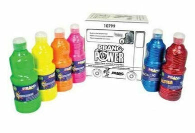 Prang Washable Fluorescent Plus Paint, Set of 6