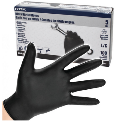 BLACK NITRILE GLOVES 5 MIL LARGE