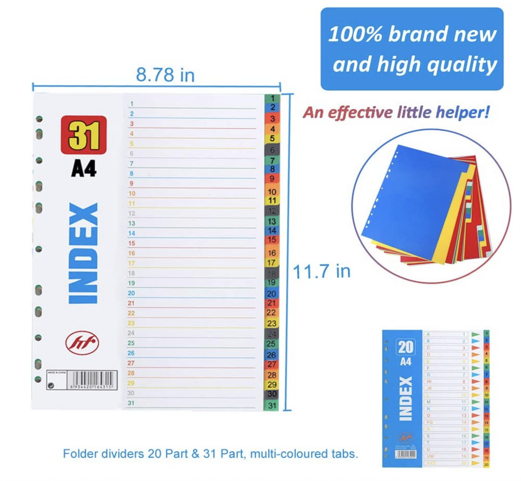 Plastic Folder Dividers Binder Index Dividers A4 20 Part & 31 Part Multi-Coloured, 2 SETS