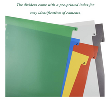 Load image into Gallery viewer, Plastic Folder Dividers Binder Index Dividers A4 20 Part & 31 Part Multi-Coloured, 2 SETS
