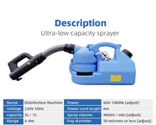 Load image into Gallery viewer, Electric ULV Sprayer Portable Fogger Machine Disinfection Machine