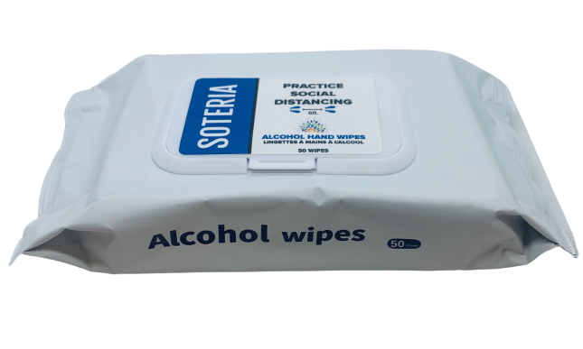 Alcohol Hand Wipes by Soteria 50/Pack