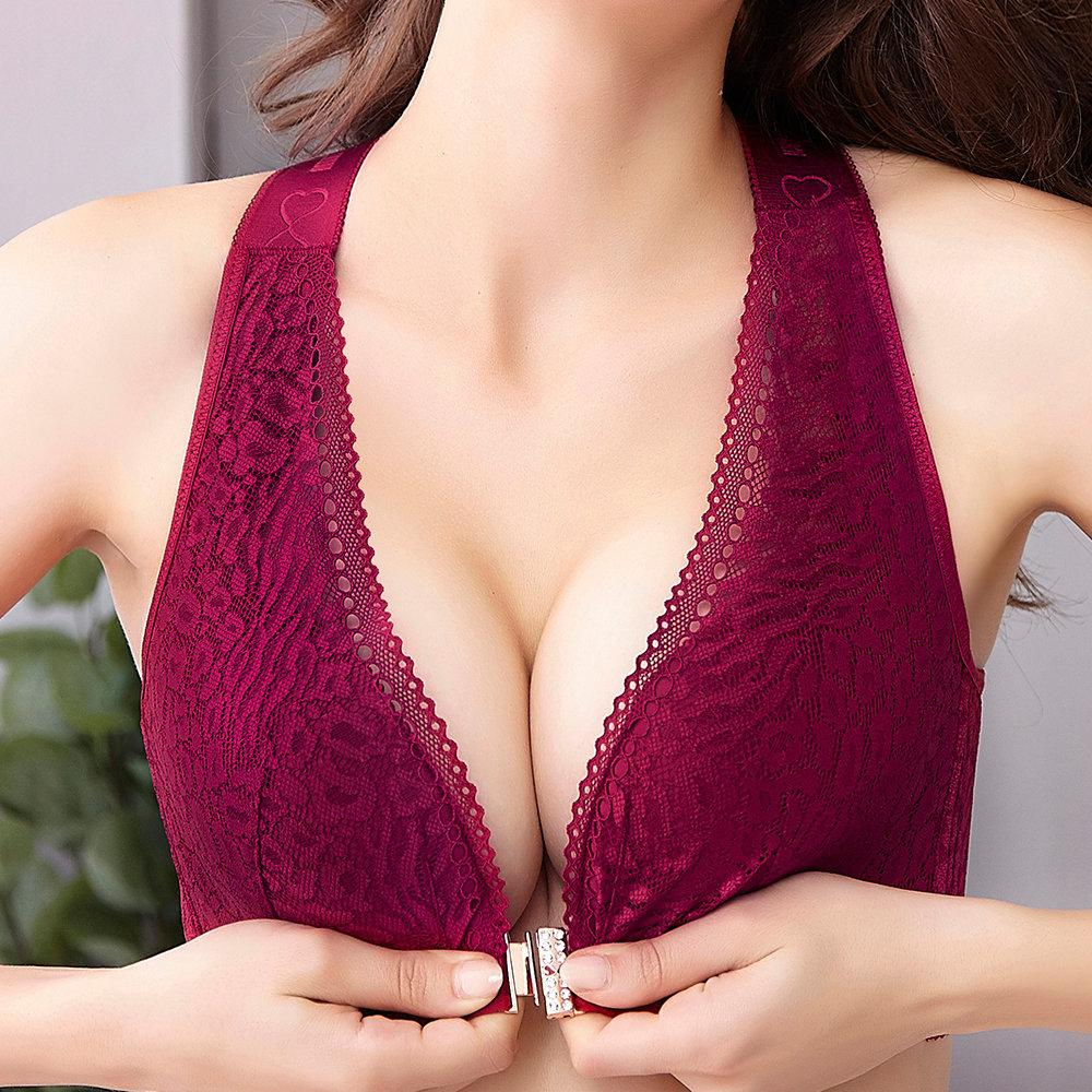 Plus Size Wireless Front Closure Widen Criss Cross Straps Support Back Lace Bras