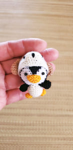 Penguin -Dog Hat ,Finish doll ,hand crochet ,6 cm.tall ,ornament