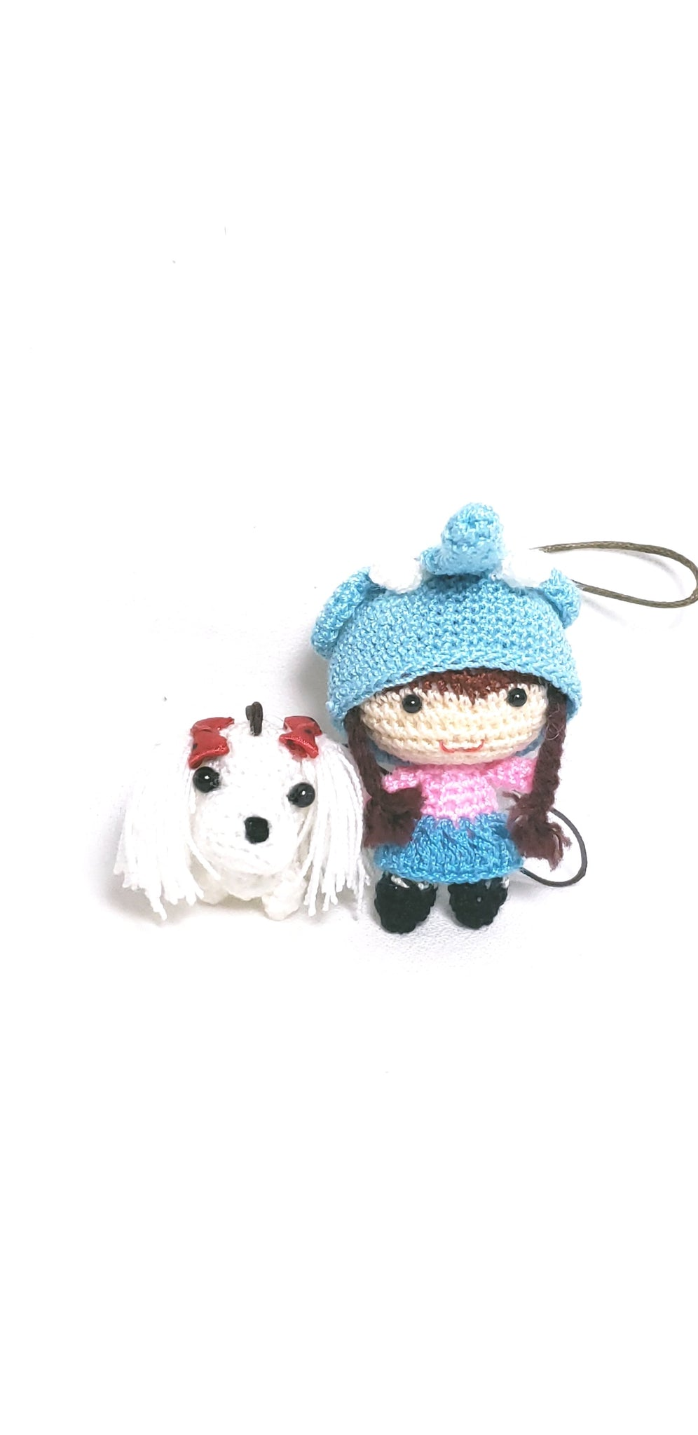 "Amigurumi little girl elephant hat  2"" height with cute dog 1.5"" height , 100% hand crochet ,ornament  ,keychain."