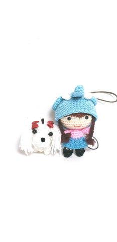 "Amigurumi ( free shipping )little girl elephant hat  2"" height with cute dog 1.5"" height , 100% hand crochet ,ornament  ,keychain."