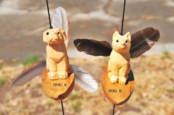 Outdoor wind chimes , wood craving Fying pig -Dog and Cat  surfboard ,changeble feather spinner.