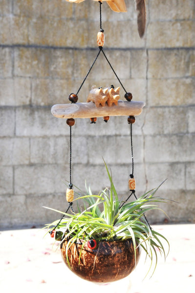 Rabbit  hanging planter,with two little pigs ,coconut pot ,indoor or outdoor,weather proof,