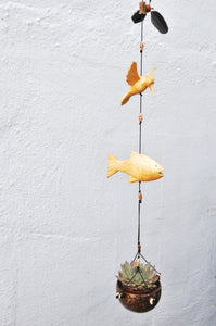Hummingbird+ Fish, wood carving ,cocnut shell hanging plater, for indoor or outdoor,weatherproof.