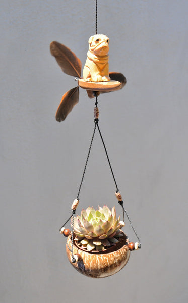 Pug on Surfboard,Hummingbird ,hanging planter ,coconut shell ,outdoor or in door weatherproof,Feather spinner.