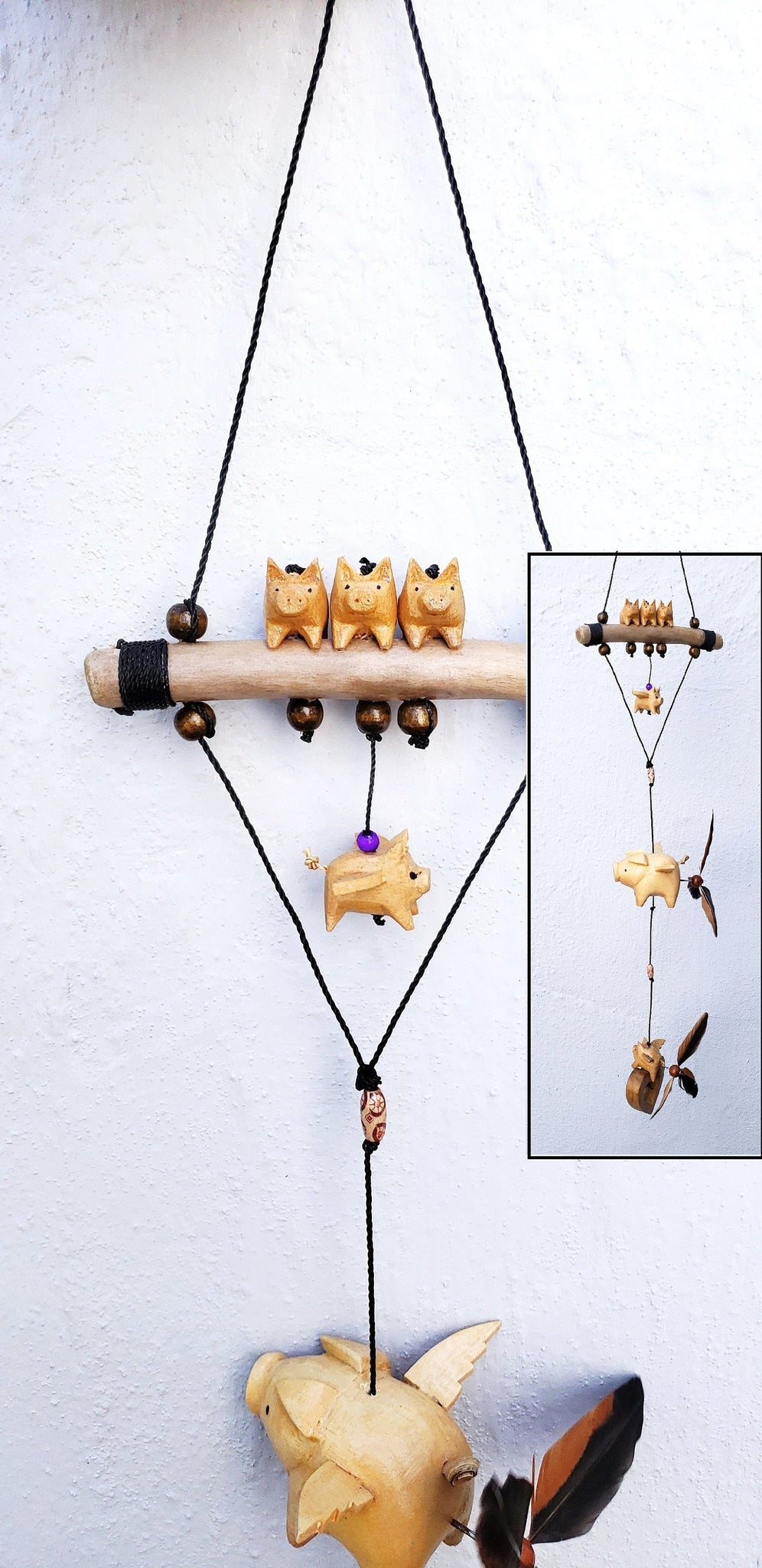 Flying Pigs ,mobiles ,indoor or outdoor ,UV proof /weatherproof,removable feather spinner.