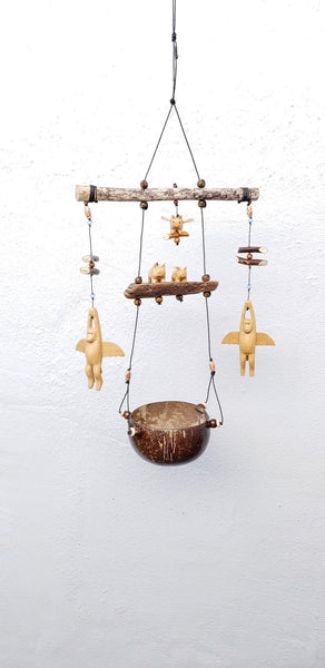Flying Monkeys/Pigfly hanging planter ,weatherproof ,outdoor or indoor .coconut shell pot