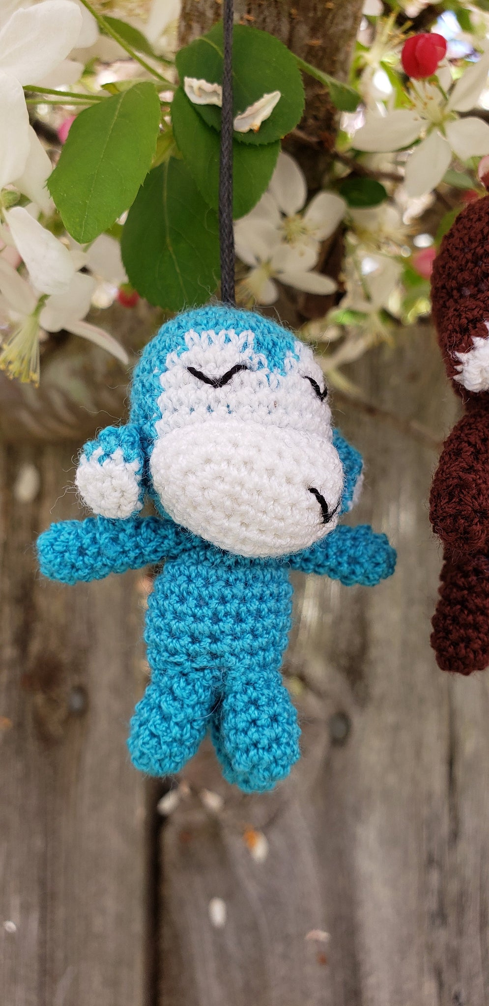 Monkey free shipping Finished product ,hand crochet  , high quality acrylic yarn. Strap ornament ,Key chain .Car mirror hanger.