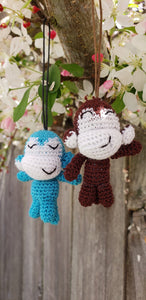 Monkey Finished product ,hand crochet  , high quality acrylic yarn. Strap ornament ,Key chain .Car mirror hanger.