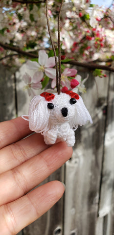 Amigurumi dog-01 finished doll. 3.5 cm.  Christmas ornament,