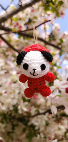 "Panda bear wearing strawberry suite amigurumi hand crochet doll, ornament,keychain. 1.5 "" height."