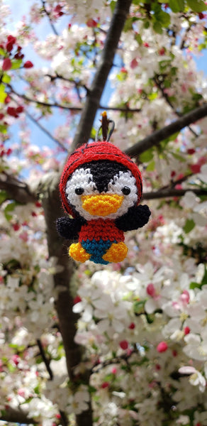 Penguin red hat ,Finished product ,hand crochet  , high quality  .Strap ornament ,Key chain .Car mirror hanger.