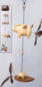 Flying pig outdoor or indoor mobile ,removable feather spinner  (custom order)
