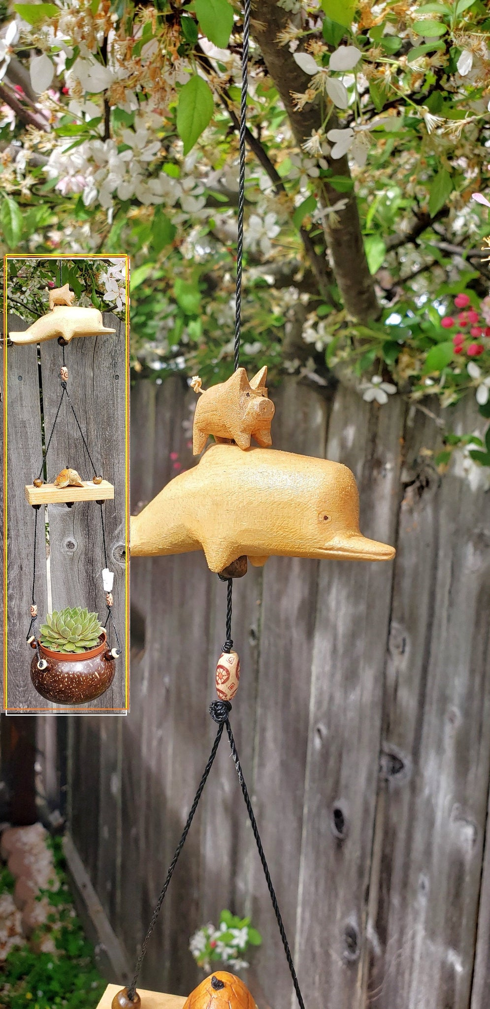 Outdoor mobile ,dolphin,turtle ,pig.UV,Weatherproof ,real feather spinner also changeable .