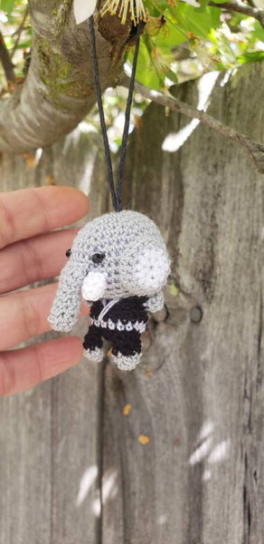 "Elephant amigurumi finish doll. 1.5"" ornament ,"