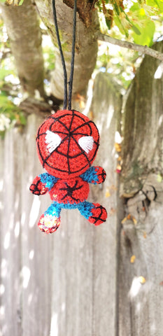 "Spider man finished doll 2"" tall.hand crochet,acrylic yarn trap ornament ,key chain ."
