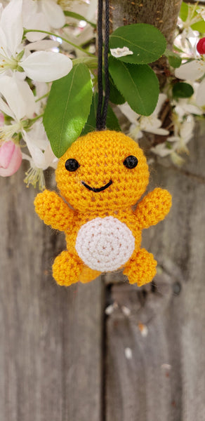 Charmander Pokemon finished doll , 2 inches Strap ornament ,Key chain .Car mirror hanger.