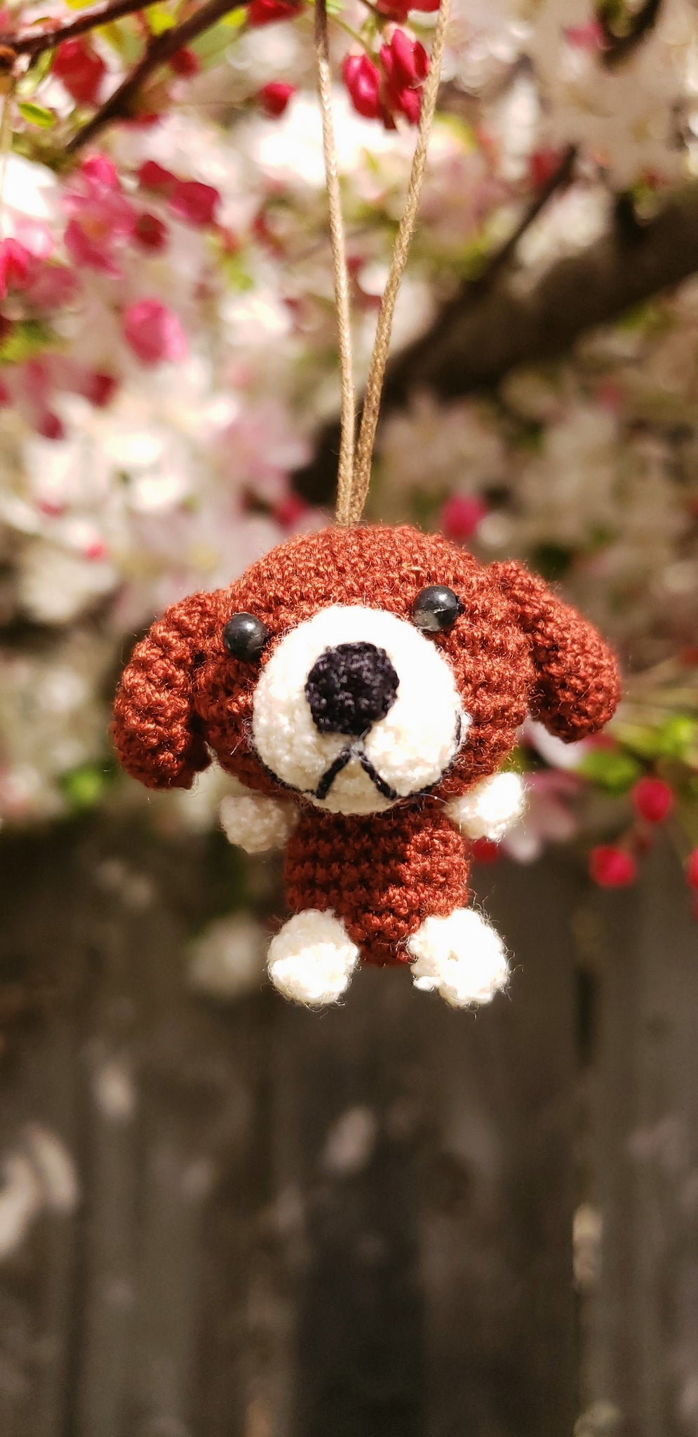 "Dog crochet Finished product, hand crochet ,tiny 1.5"" height.come with strap to hang to ,Christmas Ornament , key chain."