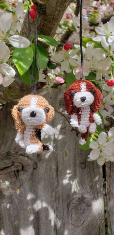 Amigurumin,Beagle Dog-Finished product, Christmas Ornament , key chain.