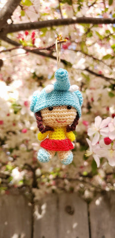 "Amigurumi little girl elehant hat ,hand crochet ,2"" height. ornament"