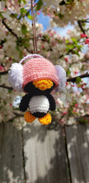 "Penguin wearing earmuff amigurumi doll ornament ,100% hand crochet, 1.5"" height"